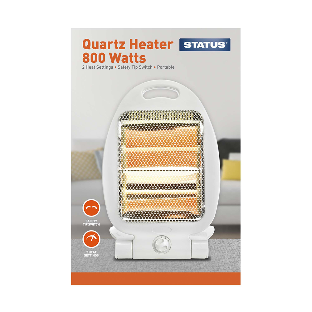 QH-800W - Quartz Heater 800w Grey - 2 Heat Settings