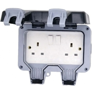 Deligo Weatherpoof Socket 2 Gang - IP66