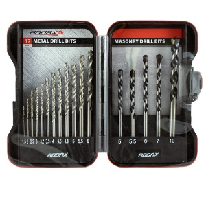 17pc. Mixed Metal & Masonry Drill Set