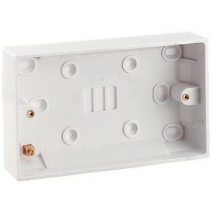 Electrical Pattress Surface Mounted Back Box Double 2gang 25mm deep