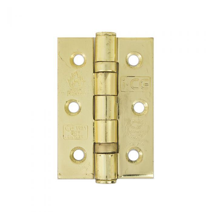 Door Hinges, Steel Twin Ball Bearing Fire Door 30/60 , Brass Plated, 76mm CE7