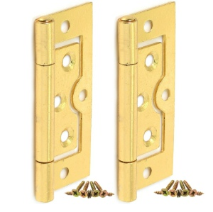 Cabinet and Cupboard Door Flush Hinges, Brass Plated, 75mm
