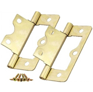 Cabinet and Cupboard Door Flush Hinges, Brass Plated, 63mm