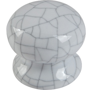 Ceramic Knob White Cracked 35mm - Pack 1