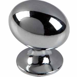 Oval Knob Polished Chrome 35mm - Pack 1