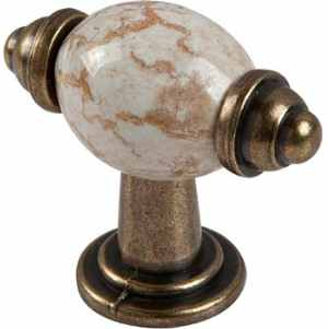 T Knob Antique Brass & Cream Ceramic Insert, 54mm Pk 1