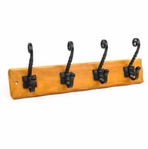 Hookrail 4 Twisted Black Hat & Coat Hooks on Rustic Pine Board