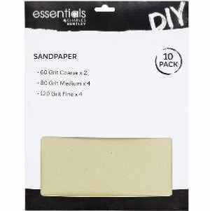 10 Assorted Sandpaper Sheets Coarse, Medium & Fine