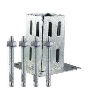 Bolt Down Fence Post Shoes Quick Fit Galvanised 75mm and FREE Fixings