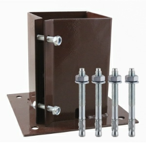 Bolt Down Fence Post Shoes Bolt Secure Red Oxide 100mm and FREE Fixings