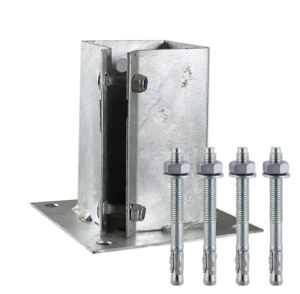 Bolt Down Fence Post Shoes Bolt Secure Galvanised 75mm and FREE Fixings
