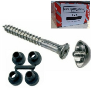 "MSC20 - 100 x 8 x 3/4"" Mirror Screws with Chrome Dome and Protective Washers"