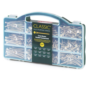 CLASSIC895 - Timco Classic mixed screw assortment , 12 sizes - 895 screws in a handy plastic carrying case