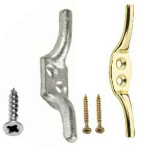 Cleat Hook Galvanised & Brass - Packed with screws