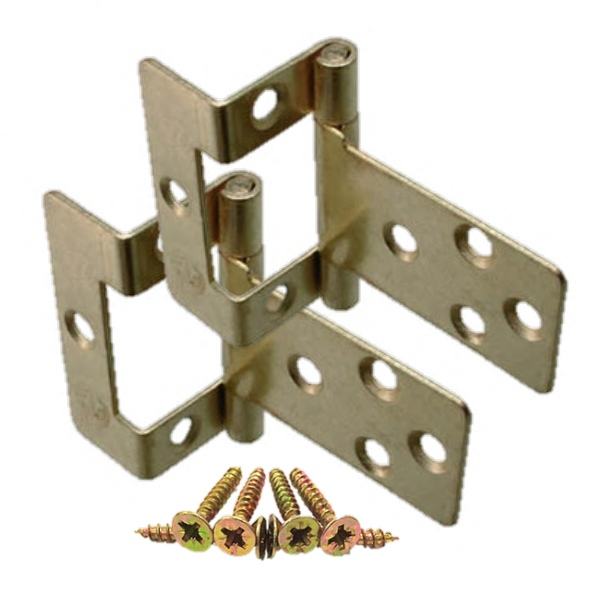Single Cranked Flush Hinges - Brass & Zinc Plated