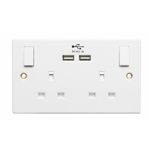 Powermaster Double Switched Socket with 2 USB Charger outlets 2.1A