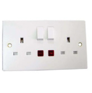 Powermaster Switched Socket - Double - Neon - 13 Amp