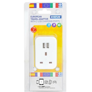 Status European Travel Adaptor with 2 USB Charging Ports