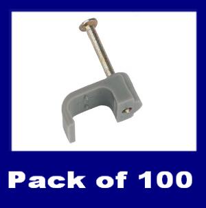 CCFG060 - 100 x 6mm Grey Flat Cable Clips with Hardened Masonry Nails