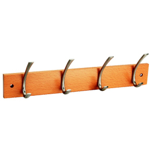 249851 - Hookrail with 4 Polished Chrome Hat & Coat Hooks on a Natural Beech Board