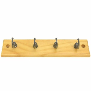 Key Rack 4 Antique Brass Hooks on Pine Board