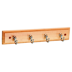 Key Rack 4 Satin Nickel Hooks on Pine Board