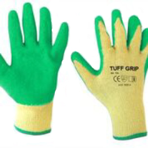 Tuff-Grip Green Latex Dipped Gloves, Crinkle Palm Finish