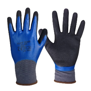 Tuff-Grip Oil Man, Soft Knitted Liner & Sandy Nitrile Surface - Sizes 9 & 10 (L & XL)