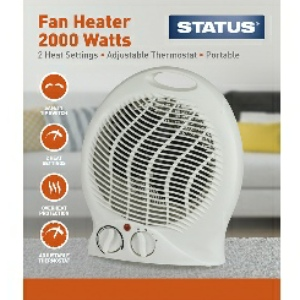Upright Fan Heater 2000w White - 2 Heat Settings