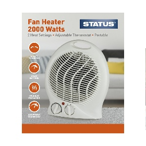 FH-2000w - Upright Fan Heater 2000w White - 2 Heat Settings