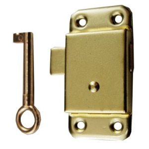 "WL2063 - Cupboard Lock 63mm (2-1/2"")  Brass Plated fixings included"