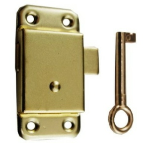 "Wardrobe Cupboard Lock 63mm (2-1/2"")  Brass Plated fixings included"