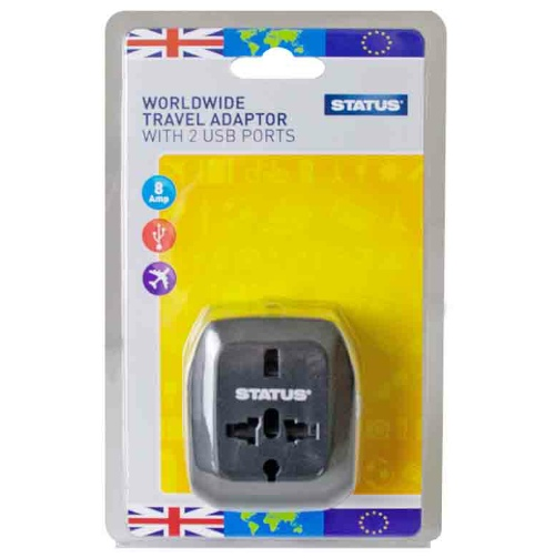 Status Worldwide Travel Adaptor with 2 USB ports